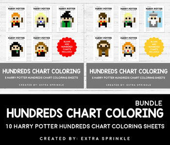 Harry Potter Inspired Hundreds Chart Coloring Pages Bundle