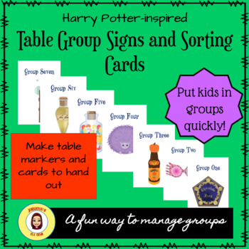 Harry Potter Inspired Table Group Signs and Sorting Cards