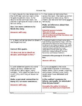 Harry Potter Language Arts Strategy Cards