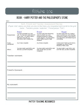 Harry Potter Learning Log Curriculum for Excellence Scotland