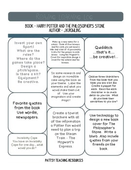 Harry Potter Learning Log Guided Reading US Version