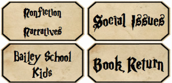 Harry Potter Library Labels