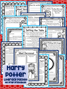 Harry Potter Literacy Packet Novel Study Common Core Aligned