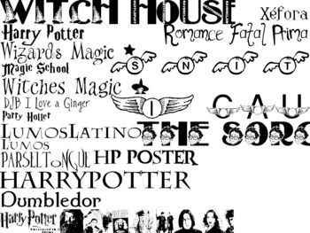 Harry Potter Magic Wizard Themed Computer .TTF Font Pack - 21 Style