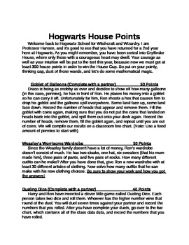 Harry Potter Math Menu, Probability