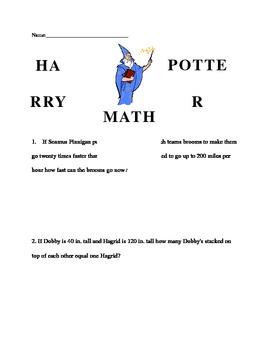 Harry Potter Math Word Problems