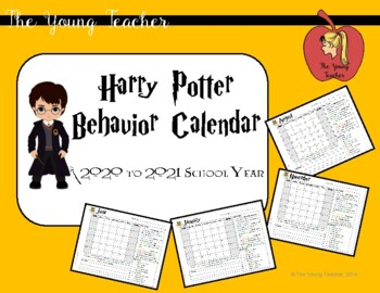 Harry Potter Monthly Behavior Calendar 2017-2018