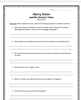 Harry Potter Movie Guides - Question Guides and Answer Sheets for All 8 Movies