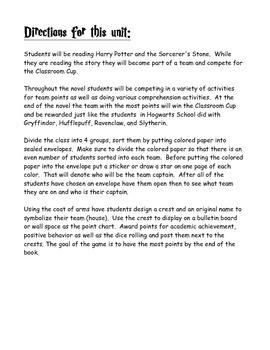Harry Potter Novel Study and Behavior Management game