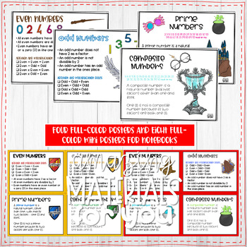 Harry Potter Posters for Even and Odd and Prime and Composite Numbers