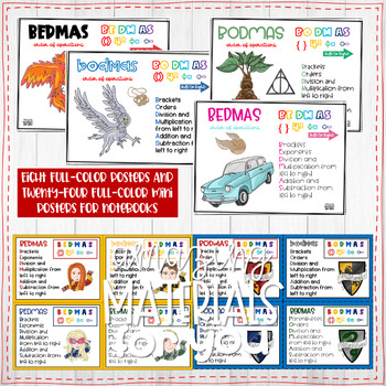 Harry Potter Posters for Order of Operations BEDMAS and BODMAS