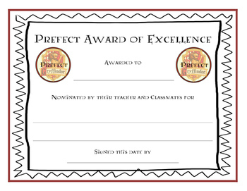 Harry potter prefect award certificates by teaching with happy feet for Harry potter certificate