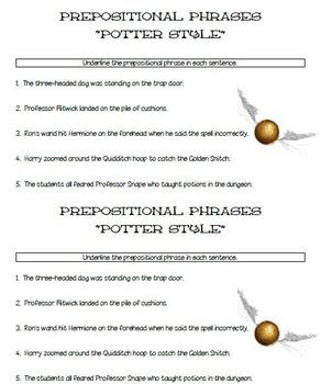 Harry Potter Prepositional Phrases Practice Freebie