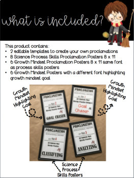 Harry Potter Proclamation Posters: Science Skills & Growth Mindset