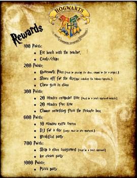 Harry Potter Reward System