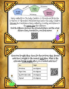 Harry Potter Rounding to Tens, Hundreds, and Thousands Problem Solving