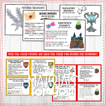 Harry Potter Rule Posters for Adding and Subtracting Integers