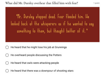 Harry Potter SELF-GRADING Chapter 1 Quiz