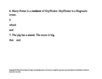 Harry Potter Sentence Combining