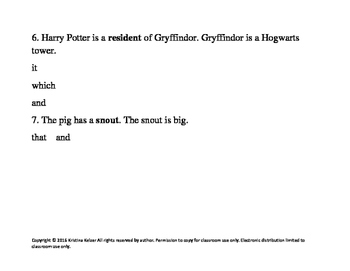 Harry Potter Sentence Combining