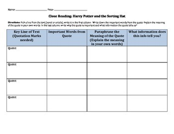 Harry Potter Sorting Hat Song Close Reading