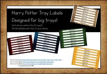 Harry Potter Style Big Tray Labels