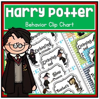 Harry Potter Theme Behavior Clip Chart - Dots Chevron and BW