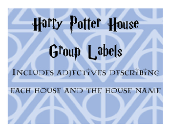 Harry Potter House Group Labels