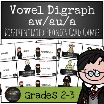 Harry Potter Themed Classroom - 'Ahh' sound 'au', 'aw', 'a''  Card Game