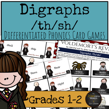Harry Potter Themed Classroom -Digraphs /th/sh/ Phonics Card Games