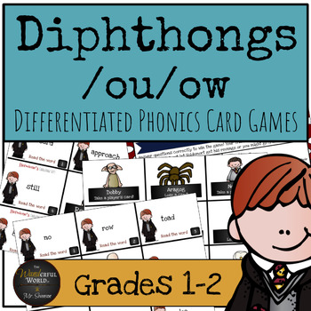 Harry Potter Themed Classroom - Diphthongs /ou/ow/ Phonics Card Games