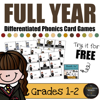 Harry Potter Themed Classroom - FULL YEAR of Differentiated Phonics Card Games