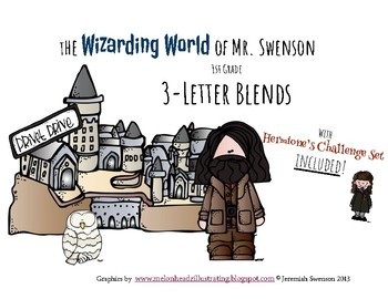 Harry Potter Themed Classroom - Grade 1 - 3 Letter Blends Phonics Card Game