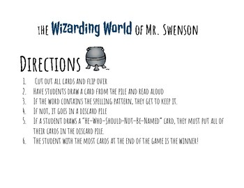 Harry Potter Themed Classroom - Grade 1 -Bossy R /ir/ur/er/ Phonics Card Game