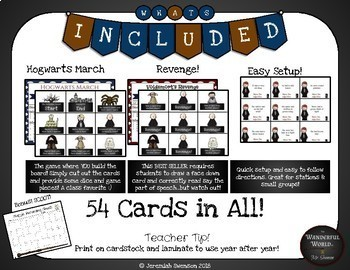 Harry Potter Themed Classroom -  Hogwarts March - Adjectives Board Game