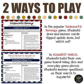 Harry Potter Themed Classroom -  Hogwarts March - Multiplication 0-5 Board Game
