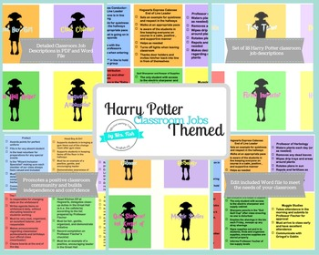 Harry Potter Themed Classroom Job Complete Bulletin Board Set