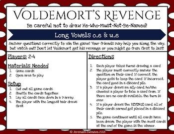 Harry Potter Themed Classroom - Long O & U with Final E  Card Game