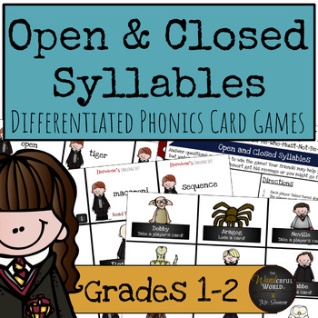 Harry Potter Themed Classroom - Open and Closed Syllables Phonics Card Games