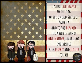 Harry Potter Themed Classroom - Pledge of Allegiance Poster