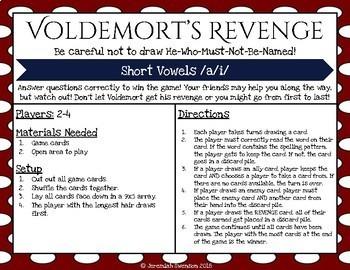 Harry Potter Themed Classroom - Short /a/i/ Phonics Card Game