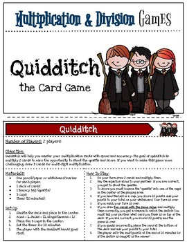 Harry Potter Themed Classroom -  Quidditch  the Card Game -  Math Games