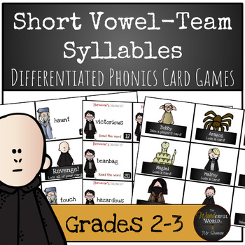 Harry Potter Themed Classroom - Short Vowel Team Syllables Phonics Card Games