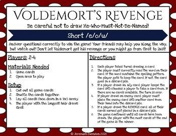 Harry Potter Themed Classroom - Short e,o.u  Card Game