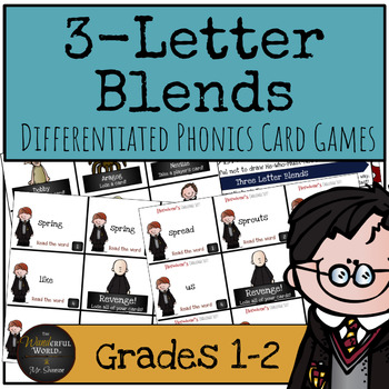 Harry Potter Themed Classroom - Three Letter Blends Phonics Card Games