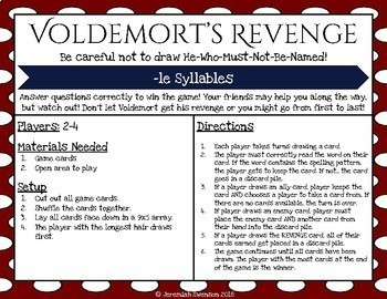 Harry Potter Themed Classroom - /le/ Syllable Card Game