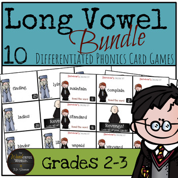 Harry Potter Themed Classroom - Long Vowel Phonics Card Games Bundle