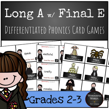 Harry Potter Themed Classroom - Long A with Final E Phonics Card Games