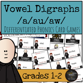 Harry Potter Themed Classroom - Vowel Digraph /a/au/aw/ Phonics Card Games