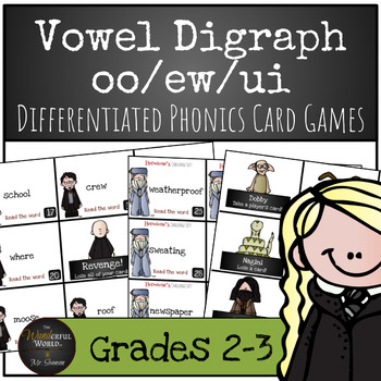 Harry Potter Themed Classroom - Vowel Diagraph /oo/ew/ui/ Phonics Card Game